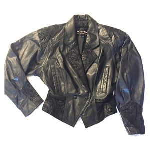 Vintage 80s cropped leather jacket M goth Wilson